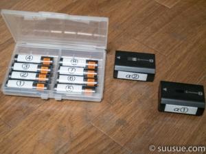バッテリーにテプラで番号を付けた写真