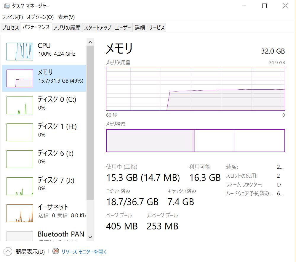 メモリ32GBのPCでLightroomの写真現像した時のメモリ使用状況