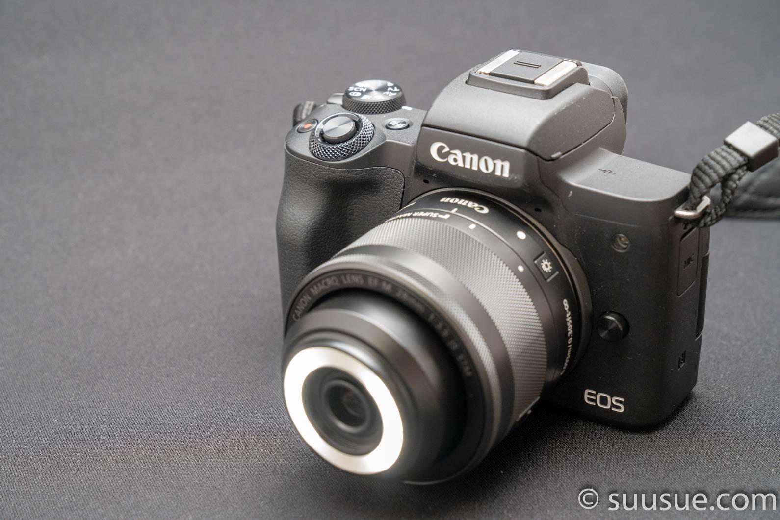 EF-M28mm F3.5 マクロ IS STM LED点灯