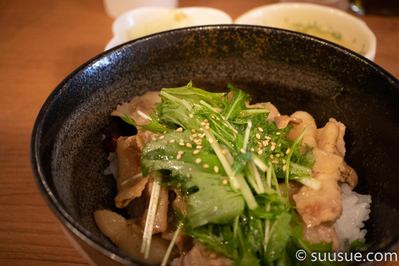 豚と水菜の味噌焼き丼
