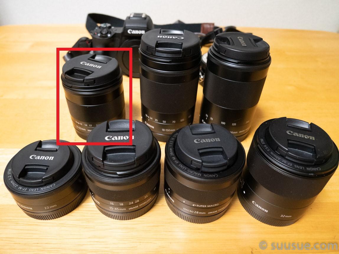 現行のEF-Mレンズ全種類(赤線内がEF-M11-22mm F4-5.6 IS STM)