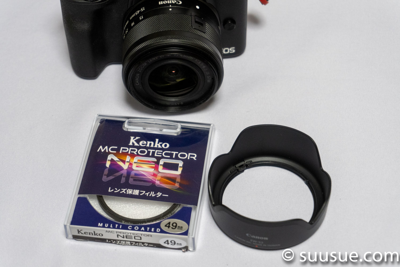 Kenko MC Protector NEO 49mmとCanon純正レンズフードEW-53